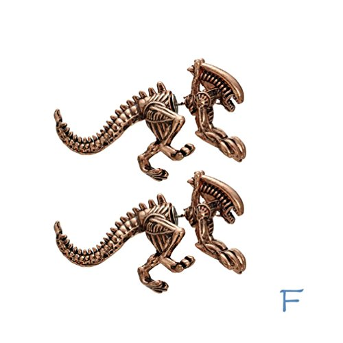 Ear Stud, Hip Hop Punk Stereoscopic Dinosaur Earring Skeleton Fashion and Personality Ear Tragus Piercing Earring Gift (F, Alloy)