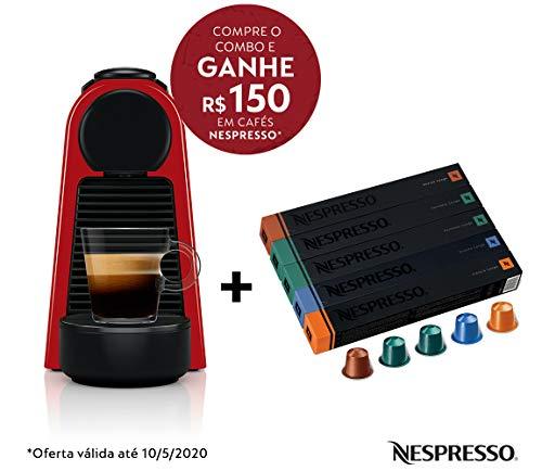 Cafeteira Nespresso Essenza Mini Vermelha 110V e Seleção Lungos 50 cápsulas de café