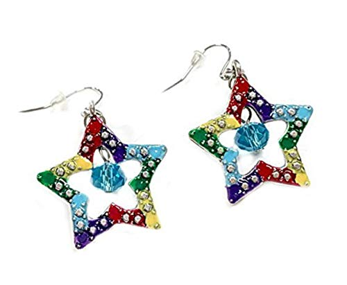 andmade Painted Metallic Star Earrings with Crystal Beads, Mixed ()