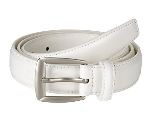 Sportoli Men's Genuine Leather Classic Stitched Casual Uniform Dress Belt - White/Matte Buckle ()
