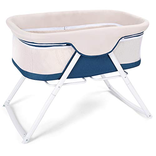 Costzon Baby Cradle, 2 in 1 Lightweight Rocking Bed Cribe with Detachable & Washable Mattress, Breathable Side Mesh, Portable Oxford Carry Bag (Beige) from Costzon
