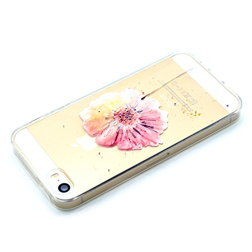 iPhone 5 5S SE Hülle , Leiai Modisch Blume TPU Transparent Clear Weich Tasche Schutzhülle Silikon Handyhülle Stoßdämpfende Schale Fall Case Shell für Apple iPhone 5 5S SE