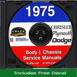 1975 Chrysler, Plymouth, Dodge Repair Shop Service Body Chassis Manual CD (With Decal) -