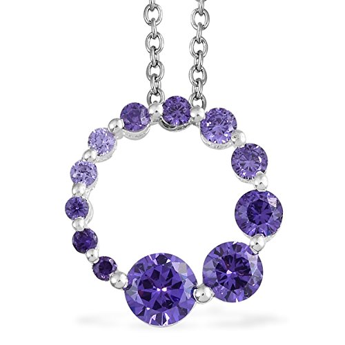 (Shop LC Delivering Joy 925 Sterling Silver Purple Cubic Zirconia CZ Hypoallergenic Gift Chain Pendant Necklace for Women 20