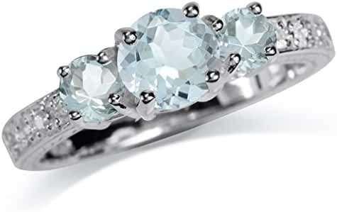 1.09ct. 3-Stone Genuine Blue Aquamarine White Gold Plated 925 Sterling Silver Ring