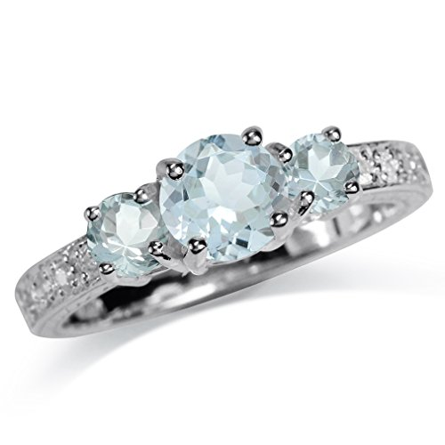Stone Ring Genuine (1.09ct. 3-Stone Genuine Blue Aquamarine White Gold Plated 925 Sterling Silver Ring Size 5.5)