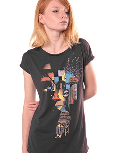 T-shirt For Women – Abstract Reflections Top – Cotton Top – Artwork by Plazmalab – Grey – Large