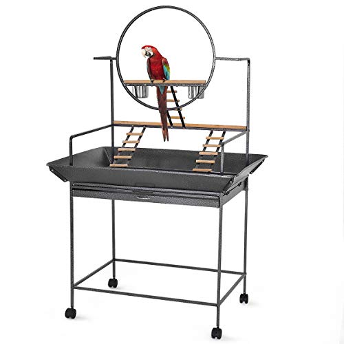 Play Perch - Giantex 65'' Parrot Play Stand, O Wrought Iron, Large Bird Cage Gym Perch with 2 Feeding Cups, Play Ring Ladders & Removable Cleaning Tray, Bird Play Gym Stand