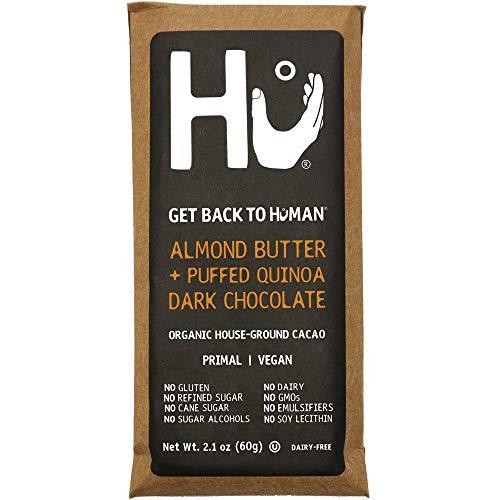 Hu Chocolate Bars | 4 Pack Almond Butter Puffed Quinoa | Natural Organic Vegan, Gluten Free, Paleo, Non GMO, Fair Trade Dark Chocolate | 2.1oz Each