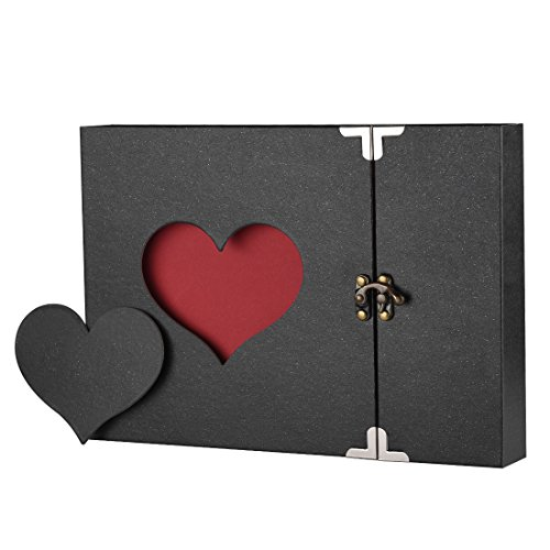 Scrapbook Firbon Handmade DIY Family Album with Bonus Gift Box for Christmas, Valentine's Day, Birthday and Homecoming (Black) for $<!--$15.99-->