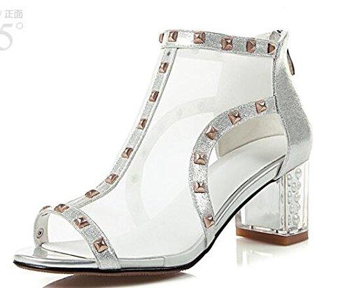 Silver heeled Block Leather Women's Laruise Sandal zqXSZggw