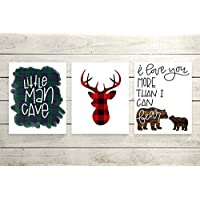 "Set of 3 Woodland Animal Nursery Cardstock Prints - 8x10"" Little Man Cave, Buffalo Plaid Deer Silhouette, I Love You More Than I Can Bear"
