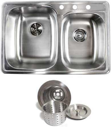 33 Inch Top-mount Drop-in Stainless Steel Double Bowl Kitchen Sink – 18 Gauge with Deluxe Liift Out Strainer
