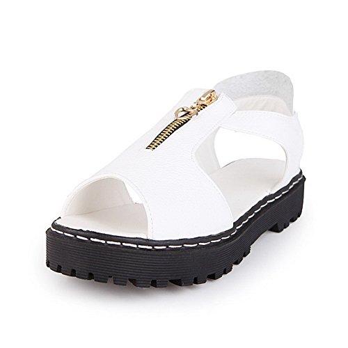 AllhqFashion Mujeres Cremallera Puntera Abierta Sólido Sandalias de vestir con Metal Blanco