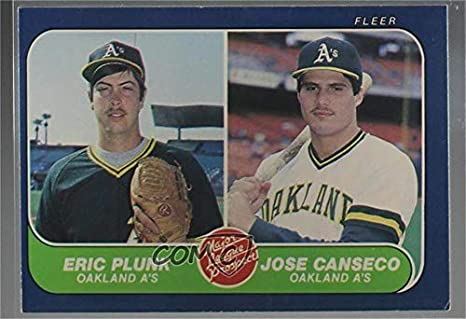 Amazoncom Eric Plunk Jose Canseco Baseball Card 1986 Fleer