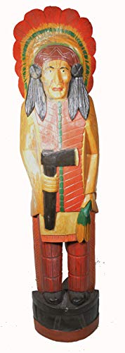 WorldBazzar 5 Foot Cigar Indian Huge Hand Crafted Wooden Sculpture Cowboys Horseshoes Shotgun Old west Hunting Scratch and Dent Sale (Sale Horse Wooden Sculptures)