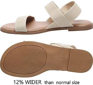 Women's Wide Width Flat Sandals Open Toe Elastic Ankle
