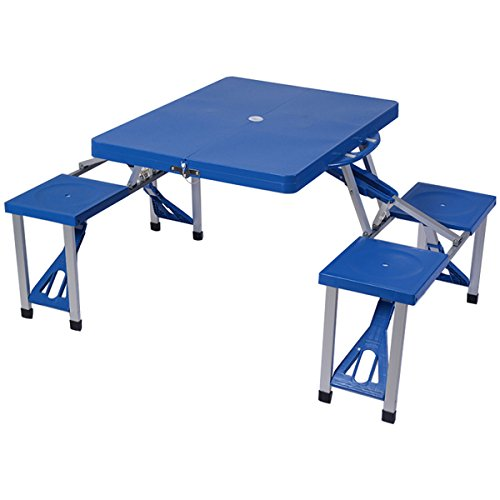Giantex Portable Folding Picnic Table with Seating for 4 Garden Party Camping Time Design, Blue