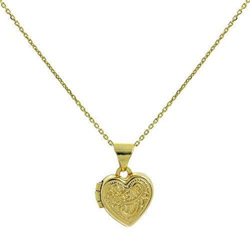 Collier et Petit Pendentif Médaillon Cœur en Or Jaune 9 Carats - 41cm