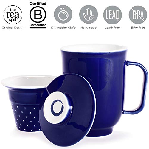 The Tea Spot Steeping Mug, 3-Piece Handcrafted Porcelain Ceramic Tea Mug with Infuser & Lid, 16-Ounce, color: Blue - Handcrafted Porcelain Glazed