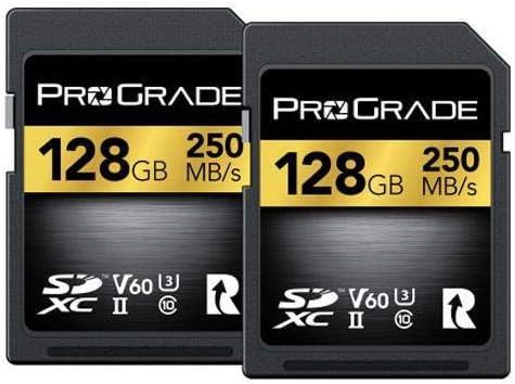 ProGrade Digital 128GB SDXC UHS-II U3 Class 10 V60 Memory Card 250MB//s Read 130MB//s Write 2-Pack