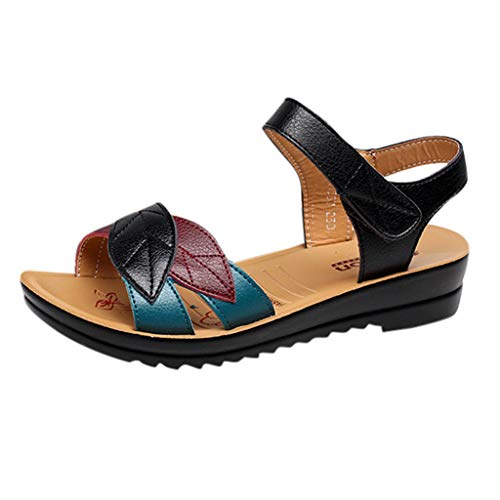 Ladies Shoes Matching Bottom Wedge Soft Pregnant Black Meeya Women Sandals Velcro Lazy With Casual Color Beach pMqSUVzjGL
