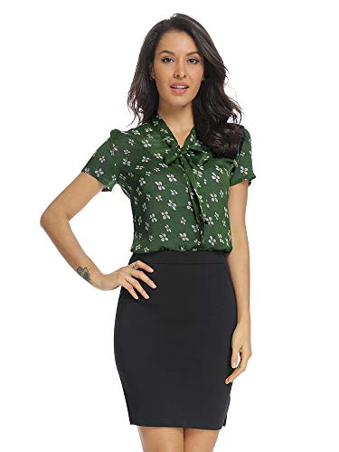 Womens Floral Printing Summer Casual Short Sleeve Slim Fit Blouses Bow Tie Buttoned Down Tunic Tops Green Tag XS
