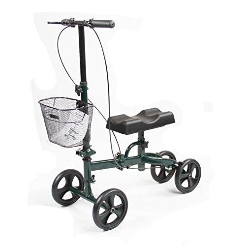 Healthport Knee Walker | Steerable Knees Scooter for Foot Injuries | Folding, Dual Breaks, Parking Mechanism | Increased Turning Radius for Indoor & Outdoor | Dark Green | Compact Crutches Alternative