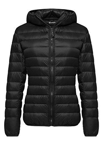 Wantdo Women's Hooded Packable Ultra Light Weight Short Down Jacket(Black, 3XL)