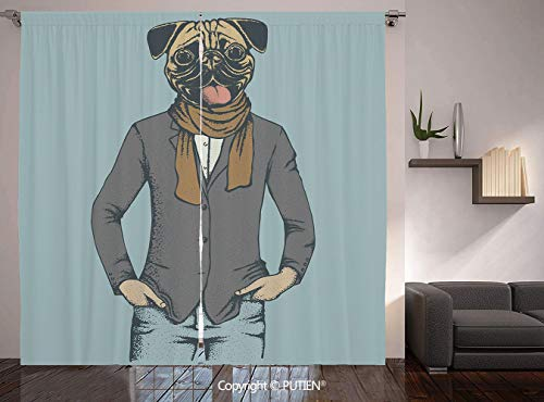 Thermal Insulated Blackout Window Curtain [ Pug,Abstract Image of a Dog with Human Proportions with Jacket Scarf and Jeans Absurd Decorative,Taupe Brown Blue ] for Living Room Bedroom Dorm Room Classr