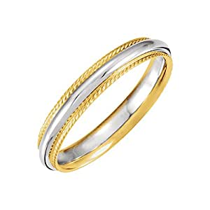 14k White & Yellow Gold 4mm Comfort-Fit Rope Edge Band Size 10, 14kt White and yellow gold, Ring Size 10