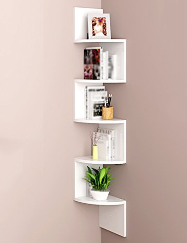 Shelves Curved 123cm Bookshelf Wall Hanging Floating 5 Tier Triangle Corner Shelf Partition CD DVD Storage Unit Display Stand Bookcase Color Optional (Color : White)