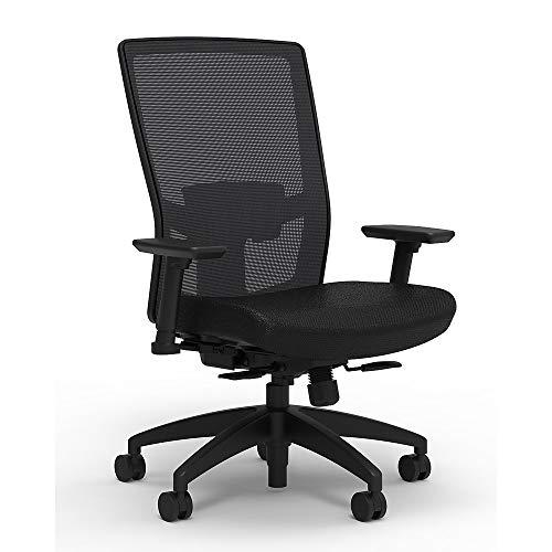 Staples 2846119 Workplace Series 500 Fabric Task Chair Black Adj. Lumbar 2D Arms