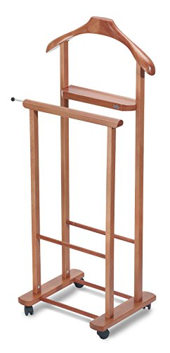 Aris Dino - Vintage Style Valet Stand In Solid Beech Wood - Handcrafted in Italy - Cherry Finish by ARIS