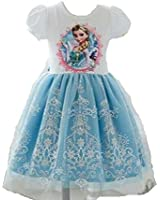 Blue Frozen Elsa Dress with Embroidered Lace for Age 3-8y