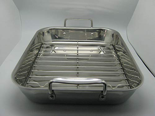 Gourmet Catalog Product 18'' Tri-Ply Stainless Steel Roasting Pan and Rack With Handles by Gourmet Catalog Product (Image #2)