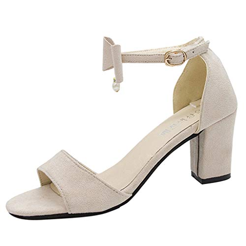 (Londony ✡ Fashion T Strap Bows Womens Platform High Heel Pumps Shoes Adorable Buckle High Cone Heel Dress Pumps Beige)