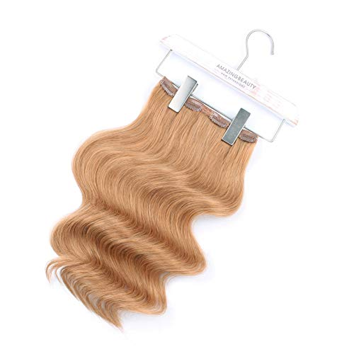 ABH Clip Ins - AmazingBeauty Luxury Remy Human Hair Double Weft, Full Head 140 Gram, 7 Pieces with 18 Clips, 27 Strawberry Caramel Blonde, 20 Inch