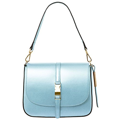 Tuscany Leather Nausica Metallic Leather shoulder bag Light Blue by Tuscany Leather