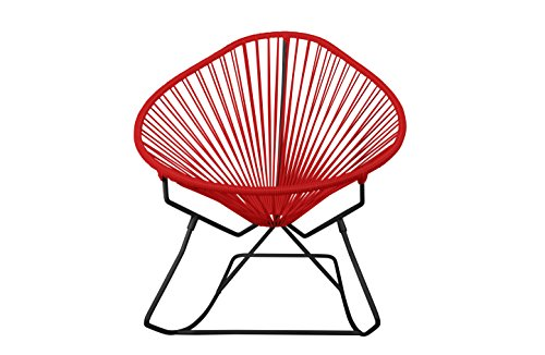 Innit Designs Acapulco Chair, Red Weave on Black Frame