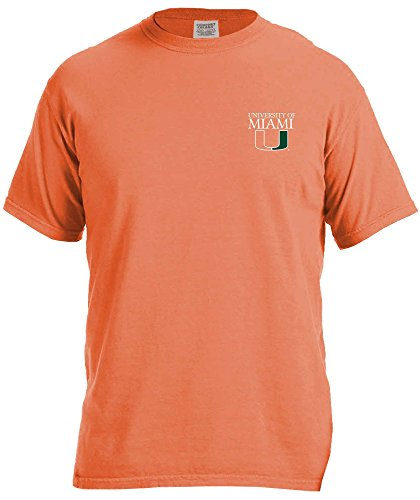 (NCAA Miami Hurricanes Simple Circle Comfort Color Short Sleeve T-Shirt, Burnt Orange,XX-Large )