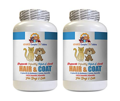 Dog Supplements for Skin - Pets Hair and Coat Boost - for Dogs and Cats - Supports Healthy Skin Hair Nails - Vitamin d for Dogs - 2 Bottles (120 Tablets)