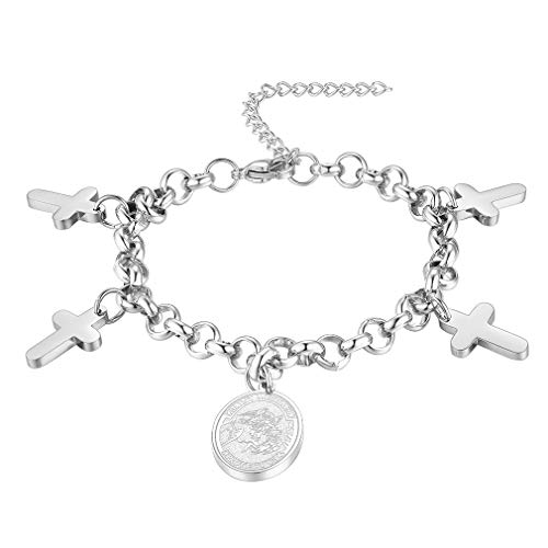 FaithHeart Saint Michael Bracelet, Personalized Engraving Best Gifts for Men/Women, Stainless Steel St. Michael The Archangel Chain Bracelet Jewelry (Send Gift Box)