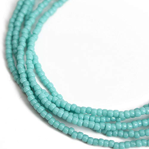 Turquoise Seed Bead Necklace, Shiny Turquoise Color Beaded Single Strand Necklace (Strand Turquoise Necklace)