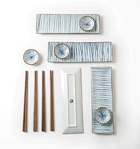 (pangu 12-Piece Japanese Style Sushi Plate Set, Dinnerware Set, BIFUU(Breeze), White and Blue, Service for 4)
