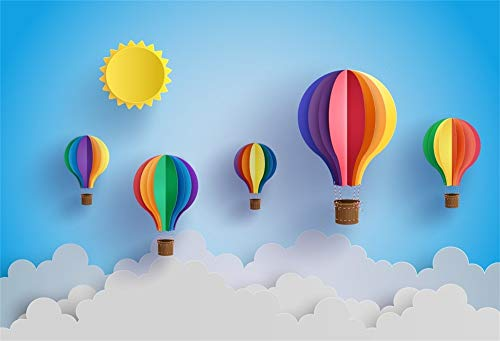 (AOFOTO 7x5ft Cartoon Sun Hot Air Balloon Backdrop Birthday Baby Shower Photo Booth Abstract Blue Sky Clouds Creative Painting Baby Dream Photography Background Wallpaper Photo Studio)