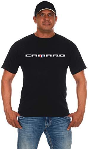 JH Design Men's Chevy Camaro Shield T-Shirt Short Sleeve Crew Neck Shirt (3X, Black)