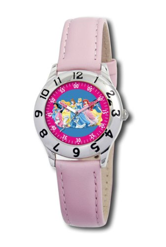 Click for larger image of Disney Kids' D044S401 Princess Time Teacher Pink Leather Strap Watch