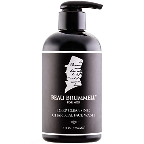 Men's Face Wash with Activated Charcoal by Beau Brummell | Men's Facial Cleanser | Natural Face Wash | Eliminate Excessive Oil and Helps Prevent Acne | Large 8 oz Size w/Perfect Pour Pump