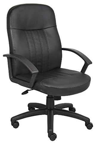 Boss Office Products B8106 Executive Leather Budged Chair in Black - Boss Office Desk